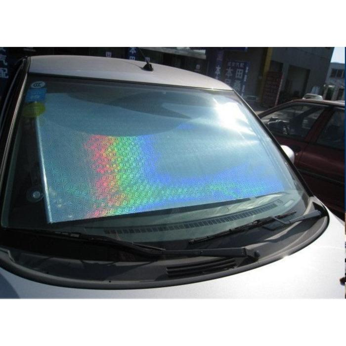 Автомобильная шторка на стекло, раздвижная 68 x 125 см, цвет хром