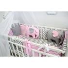 """Комплект в кроватку с игрушками """"Слоники"""", сатин, розовый"""