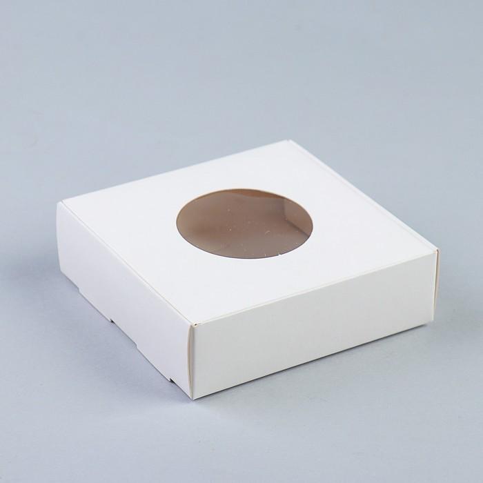 Коробка для печенья, с окном, белая, 10 х 10 х 3 см - фото 308035409
