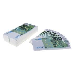 """Сувенирные салфетки """"Пачка денег 100 евро"""" двухслойные 25 листов 33х33 см"""