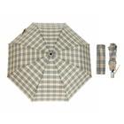 Зонт жен авт 3 слож R=51см 8 спиц облегченный п/э Бежевая клетка FCH-3 Fabretti