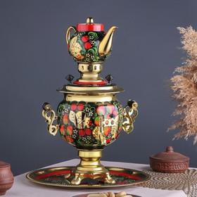 Набор «Хохлома», овал, 3 предмета, самовар 3 л, заварочный чайник 0,7 л, поднос Ош