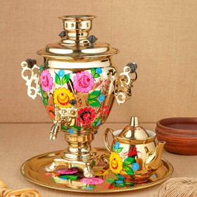 Набор «Цветы на золотом», жёлудь, 3 предмета, самовар 3 л, заварочный чайник 0,7 л, поднос Ош