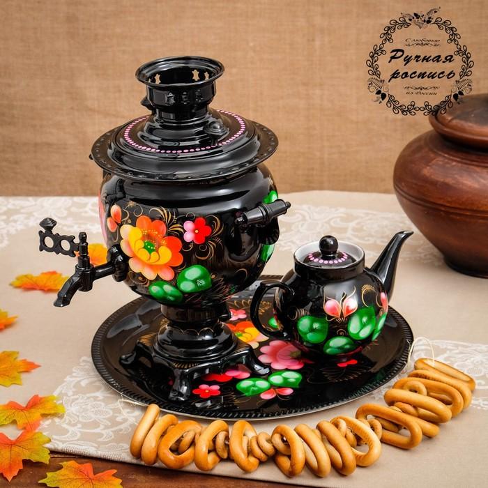 Набор «Жостово на чёрном», овал, 3 предмета, самовар 3 л, заварочный чайник 0,7 л, поднос