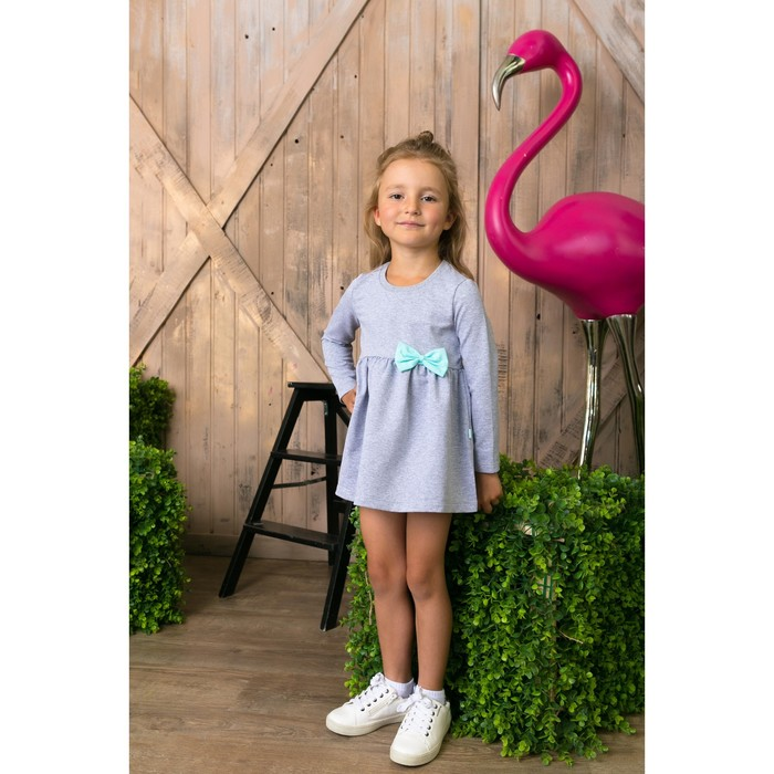 Платье для девочки, серое, р-р 30 (98-104см) 3-4г., 100% хлопок
