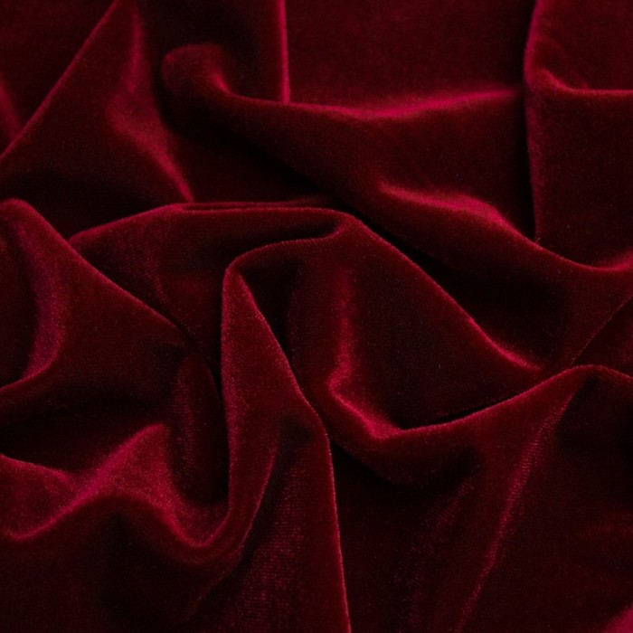 Бархат гладкокрашеный, стрейч, ширина 150 см, цвет бордовый