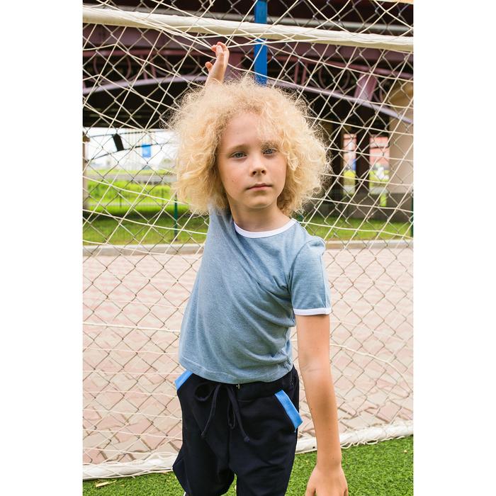 Футболка для мальчика MINAKU, рост 134-140 см, цвет голубой меланж/белый
