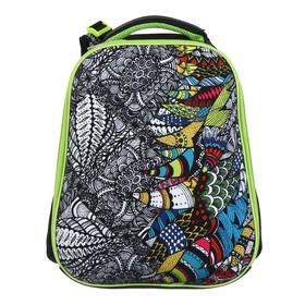 Рюкзак каркасный Hatber Ergonomic 37 х 29 х 17 см, для девочки, Doodle Art