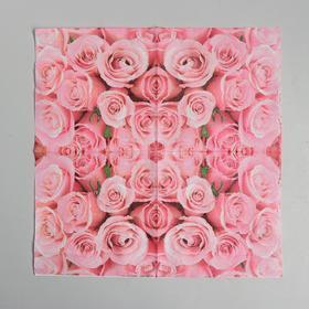 Салфетки бумажные «Розы», 33×33 см, набор 20 шт., цвет розовый - фото 7281202