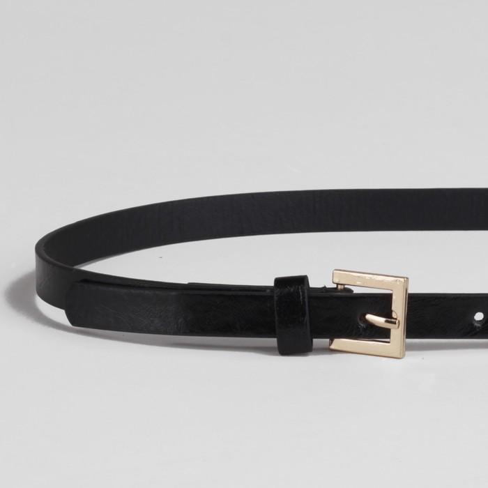 Ремень женский, ширина - 1,3 см, пряжка золото, цвет чёрный глянцевый/гладкий