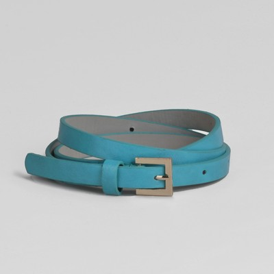 Waist belt for women width 1.3 cm, buckle gold, color turquoise glossy/smooth