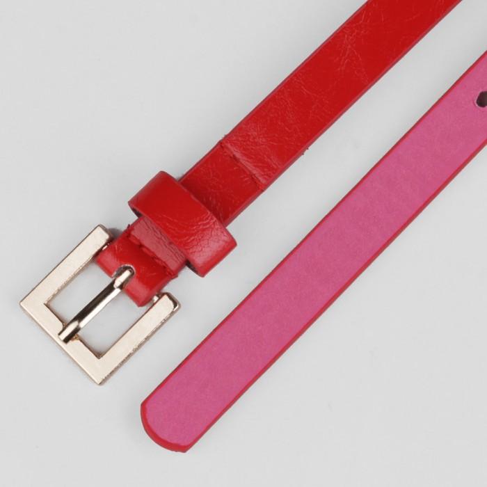 Ремень женский, ширина - 1,3 см, пряжка золото, цвет красный глянцевый/гладкий