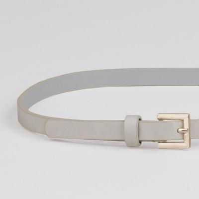 Ремень женский, ширина - 1,3 см, пряжка золото, цвет серый глянцевый/гладкий