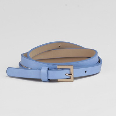 Waist belt for women width 1.3 cm, buckle gold, color blue glossy/smooth