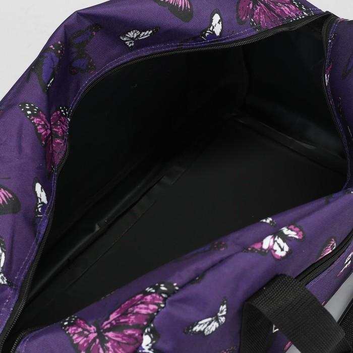 Сумка дорожная, отдел на молнии, наружный карман, длинный ремень, цвет фиолетовый