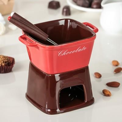 """Набор для фондю """"Лакомка"""" 2 шпажки 15 см, цвет красно-коричневый"""