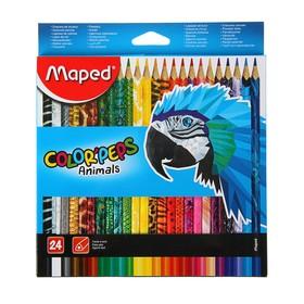 Карандаши трёхгранные 24 цвета, Maped Color Peps Animals