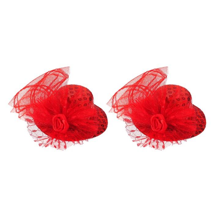 """Карнавальный зажим """"Шляпка"""", цвет красный - фото 404458410"""