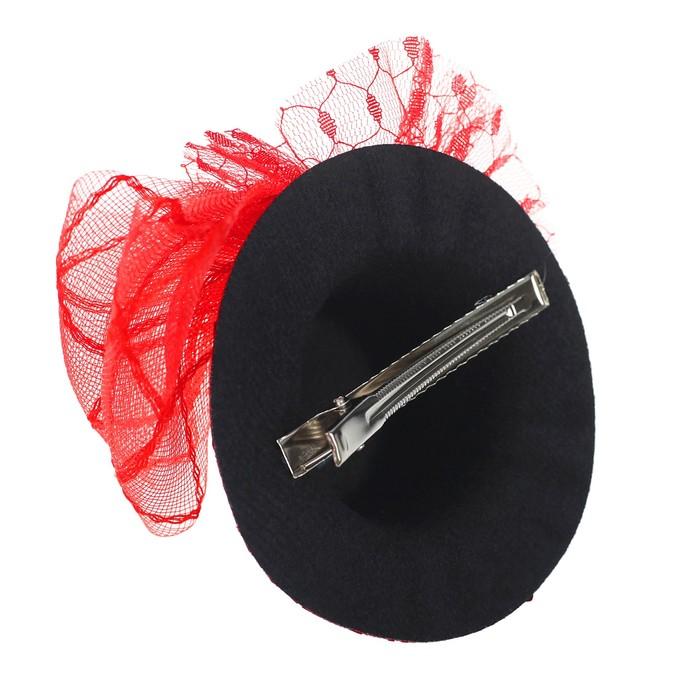 """Карнавальный зажим """"Шляпка"""", цвет красный - фото 404458411"""