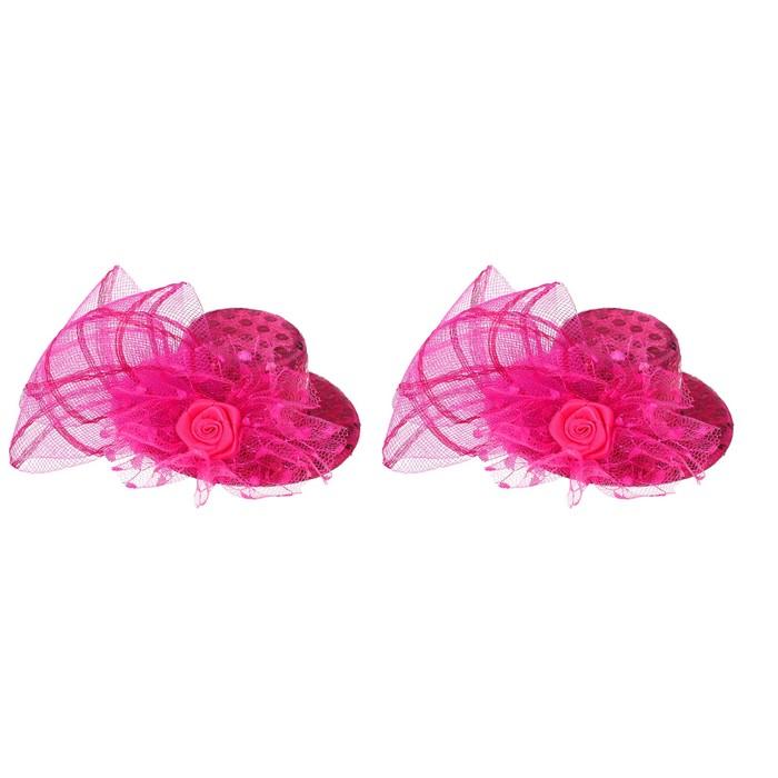"""Карнавальный зажим """"Шляпка"""", цвет розовый"""