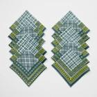 """Платки носовые мужские """"Этель"""" 30х30 см, (набор 12 шт.) цв. зелёный ситец, 100% хл"""