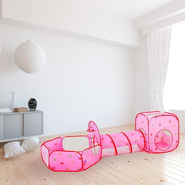 Палатка детская игровая квадратная с тонелем и сухим бассейном, розовая, 20 шаров в наборе