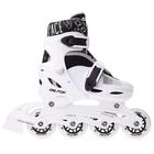 Роликовые коньки раздвижные, колеса PVC 64 мм, пластиковая рама, white/black р.34-37