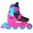 Роликовые коньки раздвижные, колеса PVC 64 мм, пластиковая рама, black/blue/pink р.34-37