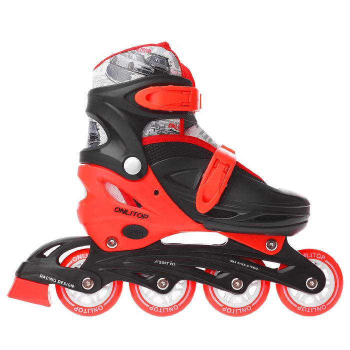 Роликовые коньки раздвижные, колеса PVC 64 мм, пластиковая рама, black/red, размер 30-33