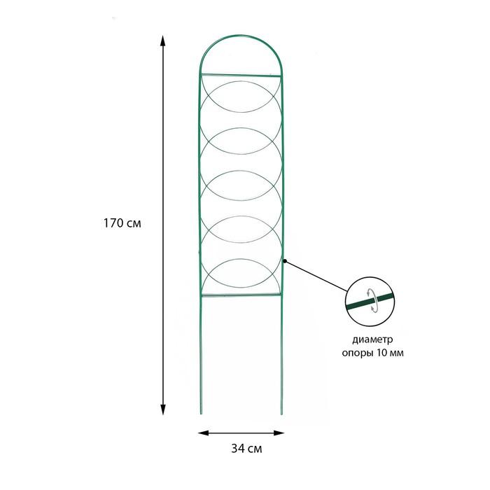 """Шпалера, 170 х 34 х 1 см, металл, зелёная, """"Кружок"""""""