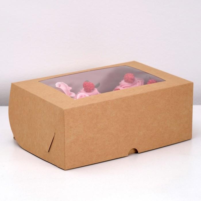 Коробка на 6 капкейков с окном, крафт, 25 х 17 х 10 см - фото 308035414