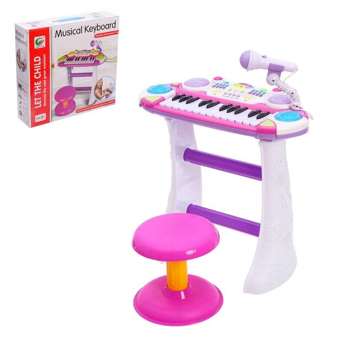 Синтезатор «Звезда» со стульчиком и микрофоном, 24 клавиши, 10 функций