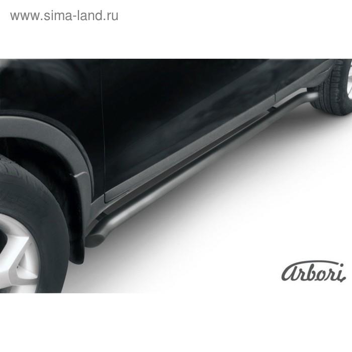 Защита штатных порогов Arbori d57 с гибами черная FORD KUGA 2008-2013