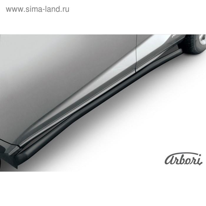 Защита штатных порогов Arbori d57 с гибами черная LEXUS NX 30H 2014-