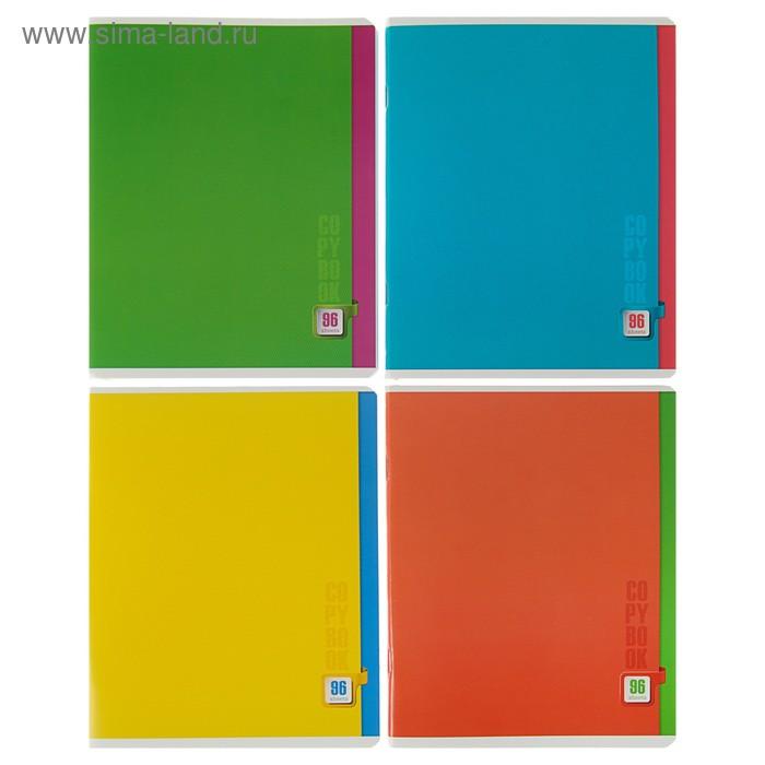 Тетрадь 96 листов Color, обложка мелованный картон, клетка, микс