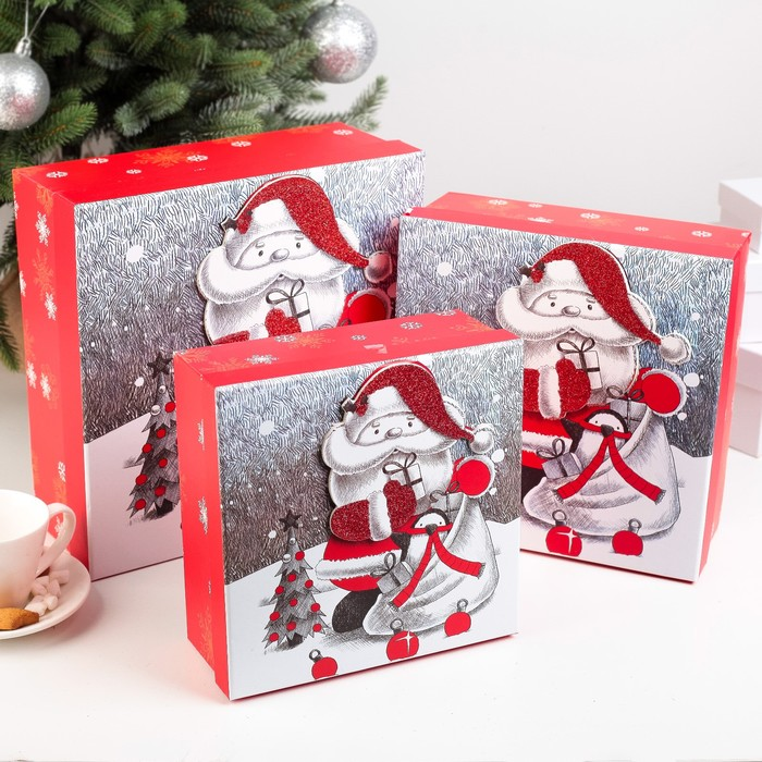 Набор коробок 3 в 1 «Санта», 28 х 28 х 11 - 21 х 21 х 9 см