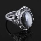"""Кольцо """"Лоза"""", размер 17, цвет белый в чернёном серебре"""