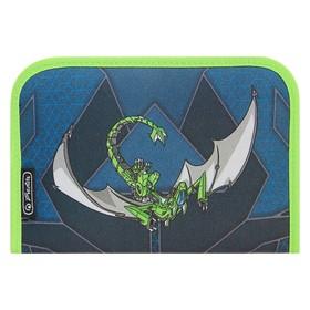 Пенал 1 секция откидные 2 планки, 140 х 205, с наполнением, ткань Herlitz, 31 предмет, Green Robo Dragon