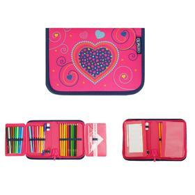 Пенал 1 секция откидные 2 планки, 140 х 205, с наполнением, ткань Herlitz, 31 предмет, Pink Hearts