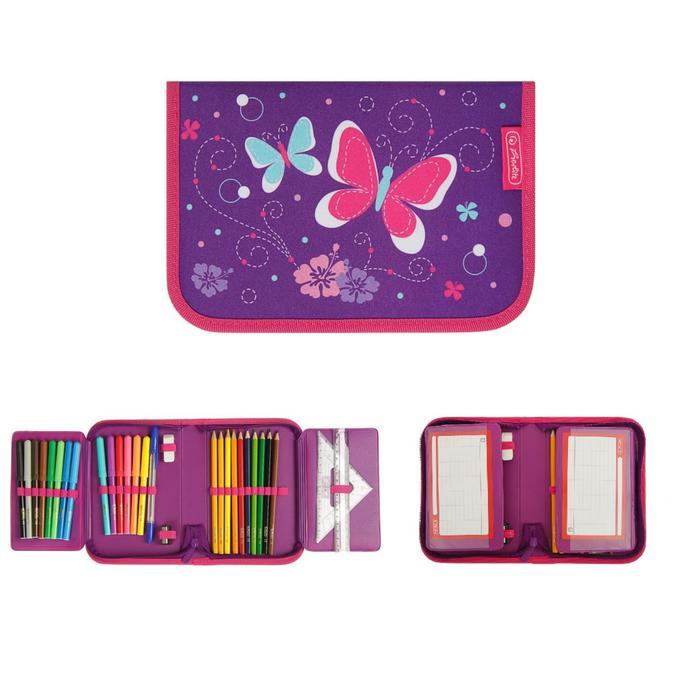 Пенал 1 секция откидные 2 планки, 140 х 205, с наполнением 31 предмет, ткань, Herlitz Purple Butterfly