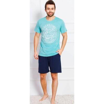 Комплект мужской (футболки, шорты) Sleeping 709124 0000 цвет бирюзовый, р-р 50 (XL)