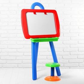 Доска для рисования двусторонняя, в комплекте мольберт, стульчик, маркер, набор букв и цифр   289501