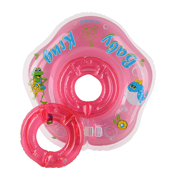 Круг для купания 3D, два сменных кольца, от 3 мес., цвет розовый