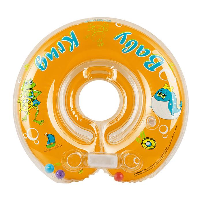 Круг для купания, с погремушками, от 0 мес., цвет оранжевый