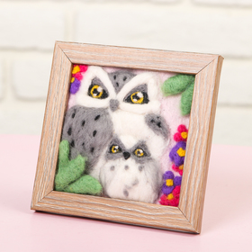 """Picture of wool three-dimensional """"Owl"""", 10 x 10 cm"""