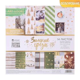 """Paper for scrapbooking embossed """"Winter daydreams"""", 20 × 20 cm, 250 g/m2"""