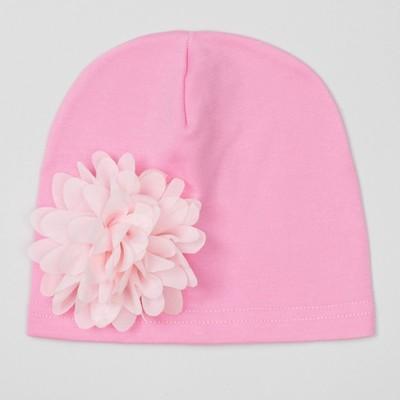 """Шапка детская """"Цветочек"""" розовая с пудровым цветком, р-р 52, 100% хл, интерлок"""