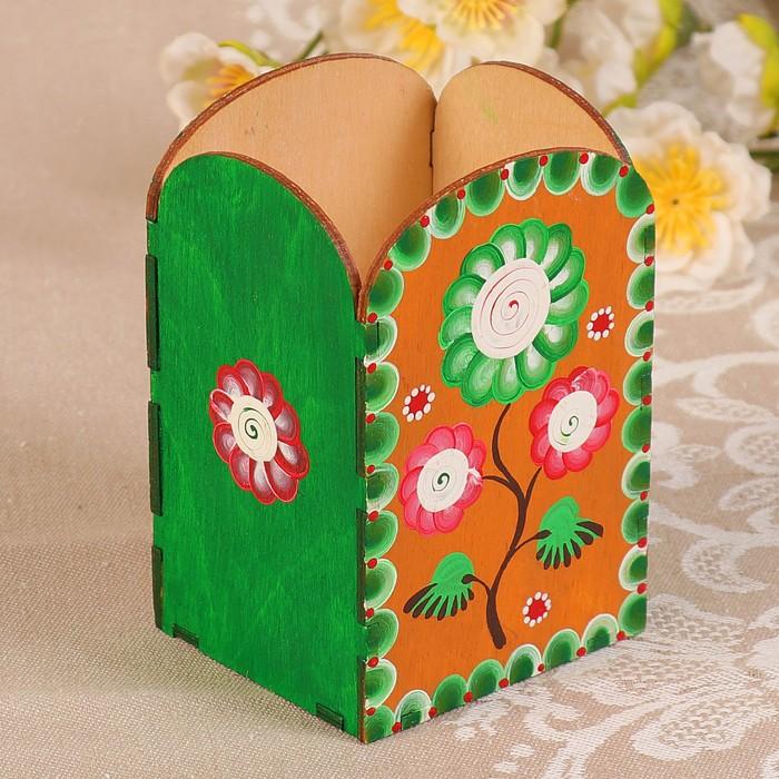 Карандашница «Цветок», ручная роспись, 7х6х10,5 см
