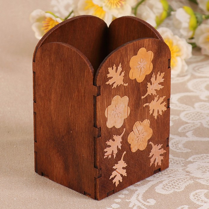 Карандашница «Цветочки», инкрустация берестой, 7х6х10,5 см, тонированная