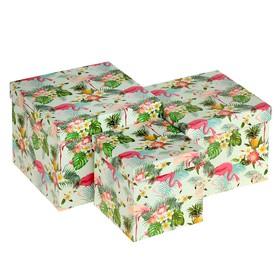 """Набор коробок 3 в 1, """"Фламинго"""", 17,5 х 17,5 х 13.7 - 12 х 12 х 11,5 см в Донецке"""